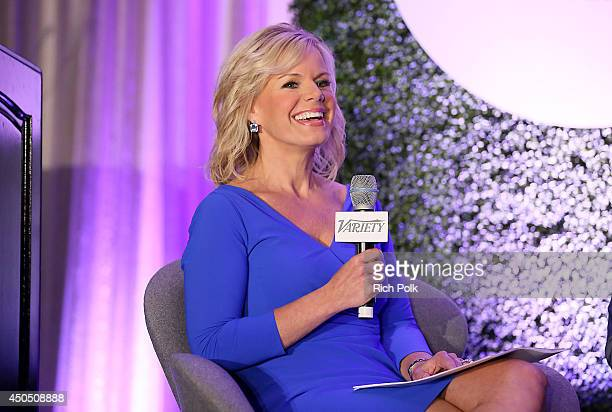 Fox News Channel Host Gretchen Carlson speaks onstage during a 'Fireside Chat on Persecuted' panel at Variety's Purpose The Family Entertainment and...