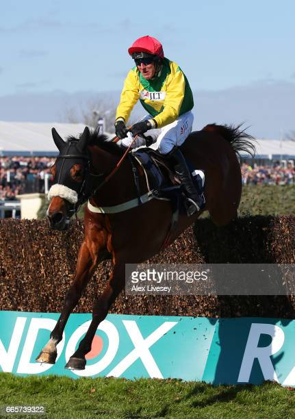 Fox Norton ridden by Robbie Power on the way to victory during the JLT Melling Chase on Ladies Day at Aintree Racecourse on April 7 2017 in Liverpool...