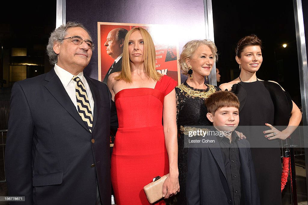 Fox Searchlight President <a gi-track='captionPersonalityLinkClicked' href=/galleries/search?phrase=Steve+Gilula&family=editorial&specificpeople=806841 ng-click='$event.stopPropagation()'>Steve Gilula</a>, actress <a gi-track='captionPersonalityLinkClicked' href=/galleries/search?phrase=Toni+Collette&family=editorial&specificpeople=204673 ng-click='$event.stopPropagation()'>Toni Collette</a>, Dame <a gi-track='captionPersonalityLinkClicked' href=/galleries/search?phrase=Helen+Mirren&family=editorial&specificpeople=201576 ng-click='$event.stopPropagation()'>Helen Mirren</a>, Felix Mirren and actress <a gi-track='captionPersonalityLinkClicked' href=/galleries/search?phrase=Jessica+Biel&family=editorial&specificpeople=203011 ng-click='$event.stopPropagation()'>Jessica Biel</a> arrive at the premiere of Fox Searchlight Pictures' 'Hitchcock' at the Academy of Motion Picture Arts and Sciences Samuel Goldwyn Theater on November 20, 2012 in Beverly Hills, California.