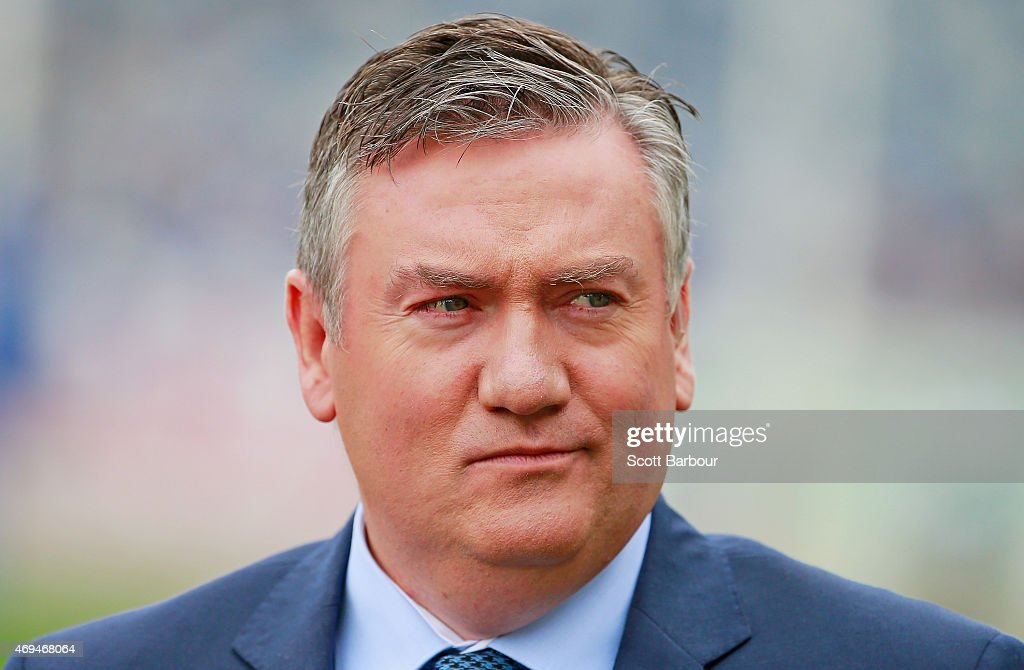 Fox Sports commentator Eddie McGuire looks on during the round two AFL match between the Geelong Cats and the Fremantle Dockers at Simonds Stadium on...