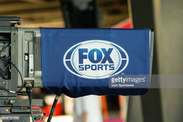 Fox Sports logo on a TV camera during the spring training baseball game between the Oakland Athletics and the Arizona Diamondbacks on March 7 2017 at...