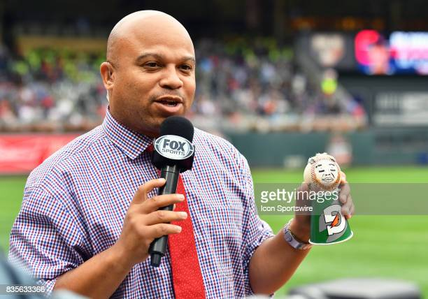 Fox Sports Ohio In game reporter Andre Knott holds up the newest member of the Cleveland Indians mini team Cleveland Indians Catcher Roberto Perez...