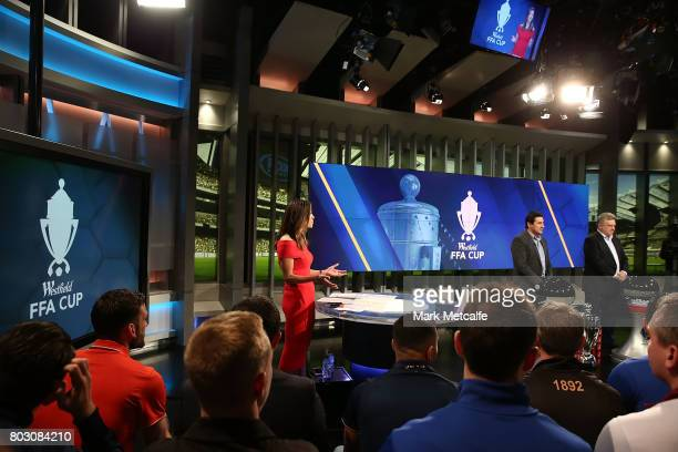 Fox Sports presenter Tara Rushton presents the FFA Cup Round of 32 Official Draw on June 29 2017 in Sydney Australia