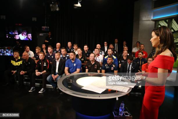 Fox Sports presenter Tara Rushton talks to representatives from football clubs across the country during the FFA Cup Round of 32 Official Draw on...