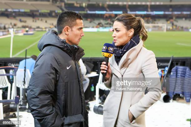 Fox Sports presenter Tara Rushton with Tim Cahill after Brazil beat Australia in the Chevrolet Brasil Global Tour 2017 on June 13 2017 in Melbourne...