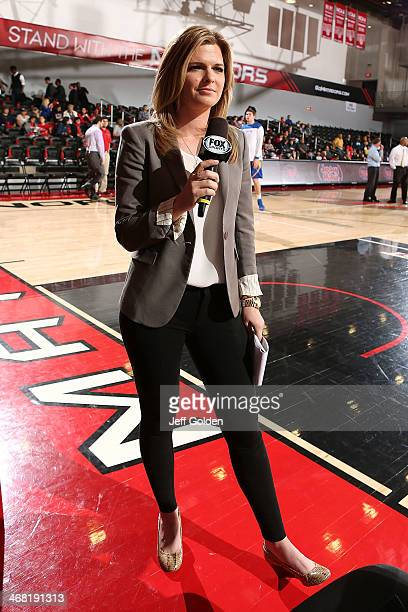 Fox Sports reporter Lindsey Thiry works the Prime Ticket television broadcast before the Big West Conference game between the UC Santa Barbara...