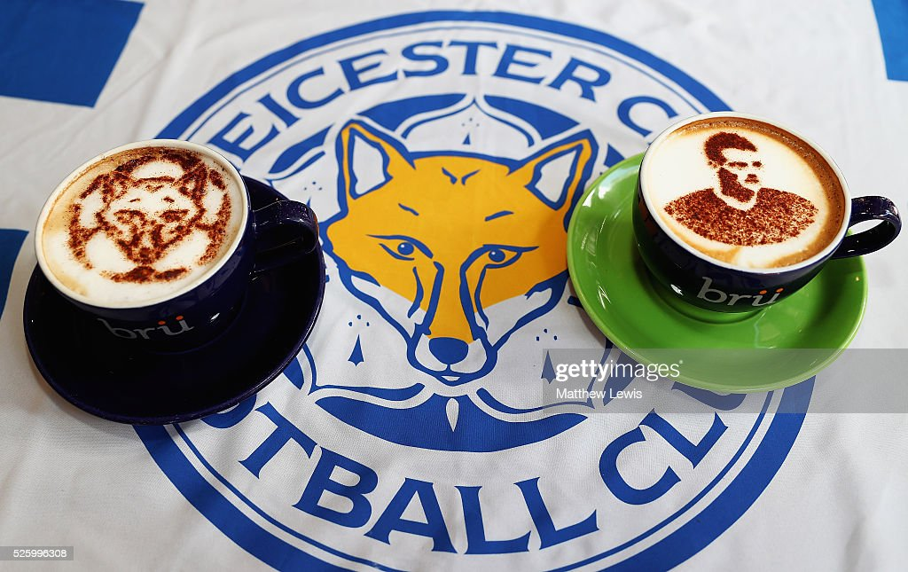 A Foxiccino and Vardyccino are pictured at Bru Coffee shop, as they show their support towards Leicester City FC during a Leicester Backing the Blues Campaign in support of Leicester City on April 29, 2016 in Leicester, England.