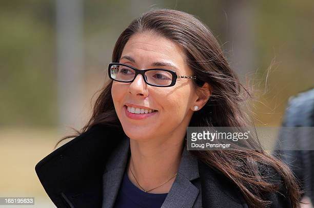 Foxnewscom reporter Jana Winter returns to the court house after a midday recess to face Arapahoe County District Judge William Sylvester regarding...
