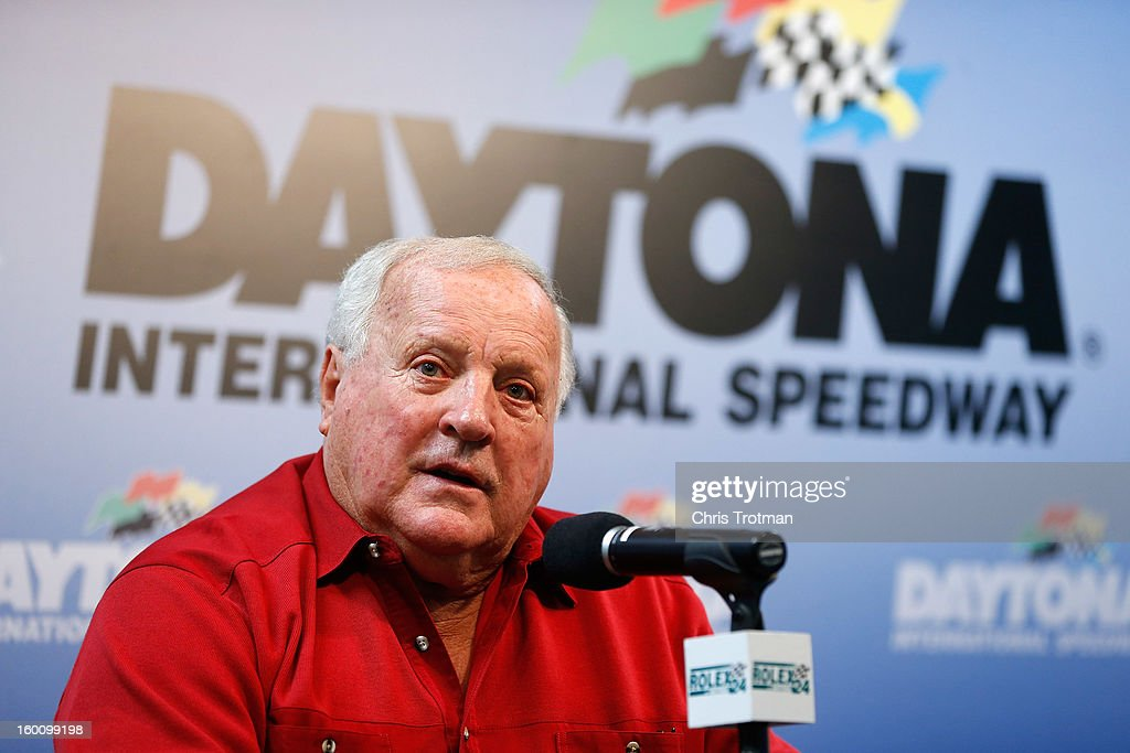 A.J. Foyt, the legendary driver talks to the media at a press conference for the Rolex 24 at Daytona International Speedway on January 26, 2013 in Daytona Beach, Florida.