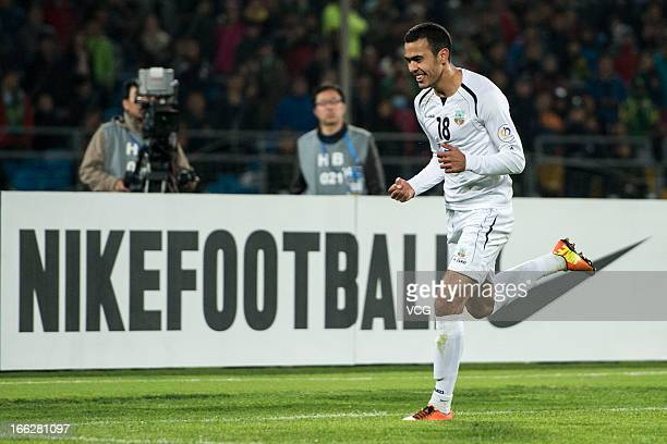 Fozil Musaev of Bunyodkor celebrates after scoring his team's first goal during the AFC Champions League Group match between Beijing Guoan and...