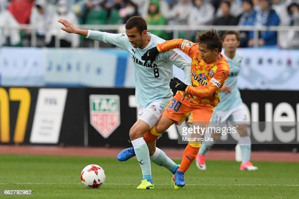 Fozil Musaev of Jubilo Iwata and Shota Kaneko of Shimizu SPulse compete for the ball during the JLeague J1 match between Jubilo Iwata and Shimizu...
