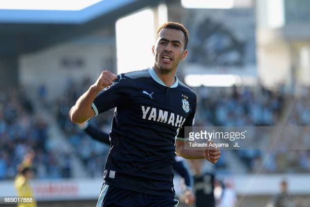 Fozil Musaev of Jubilo Iwata celebrates scoring his side's second goal during the JLeague J1 match between Jubilo Iwata and Sagan Tosu at Yamaha...