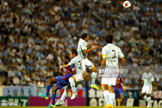 Fozil Musaev of Jubilo Iwata heads the ball during the JLeague J1 match between Jubilo Iwata and FC Tokyo at Yamaha Stadium on June 25 2017 in Iwata...