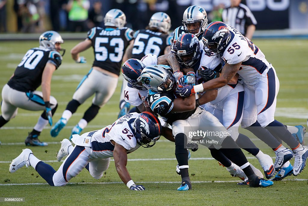 <a gi-track='captionPersonalityLinkClicked' href=/galleries/search?phrase=Fozzy+Whittaker&family=editorial&specificpeople=6335936 ng-click='$event.stopPropagation()'>Fozzy Whittaker</a> #43 of the Carolina Panthers is tackled during Super Bowl 50 against the Denver Broncos at Levi's Stadium on February 7, 2016 in Santa Clara, California.