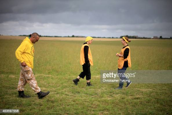 Frack Free Lancashire protesters wait for the arrival of supporters from across the country at an antifracking camp near the site of a proposed...