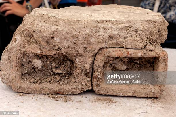 A fragment of a wall found during the new archaeological discovery that has emerged from the excavations of metro C in a well of aeration 10 meters...