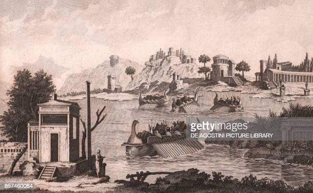 Fragment of an antique wall painting found in Herculaneum Ercolano Italy etching from Voyage pittoresque a Naples et en Sicile Nouvelle edition by...