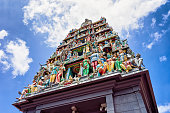 Fragment of decoration in Sri Mariamman Temple in Singapore. It is an old Hindu temple