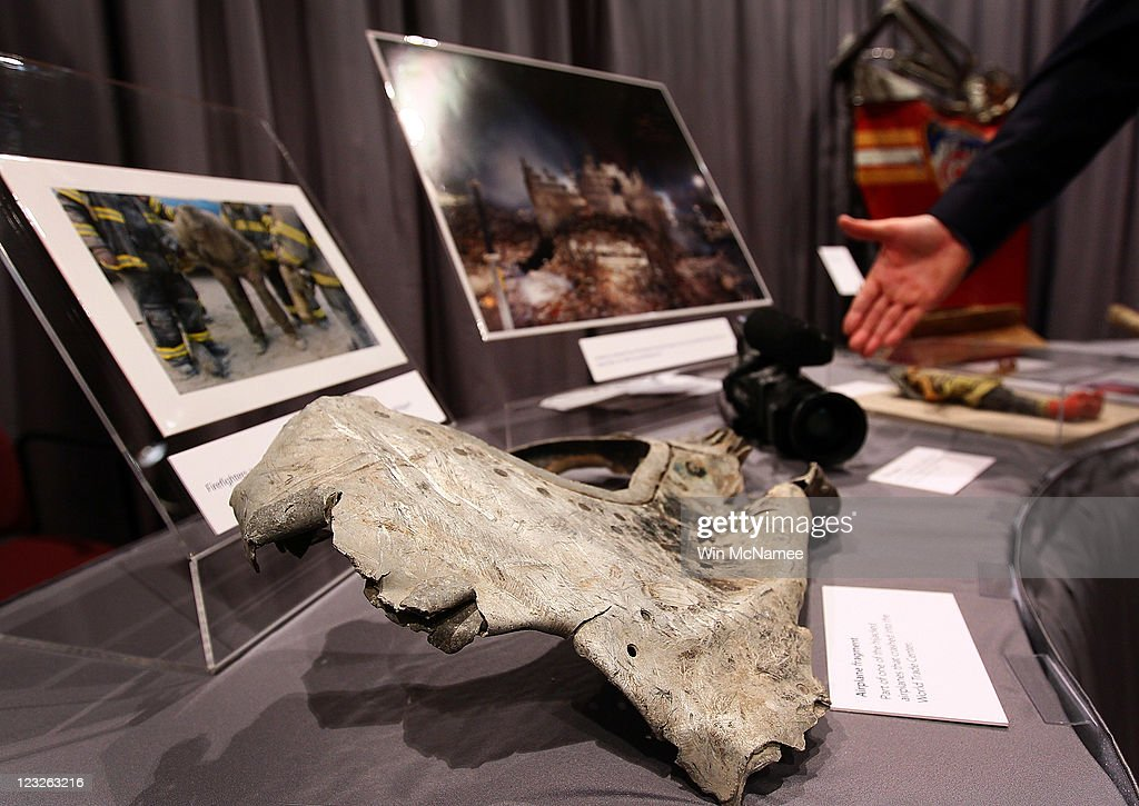 A fragment of one of the planes that struck the World Trade Center is displayed alongside other artifacts from the September 11, 2001 attacks as part of an exhibit at the Smithsonian National Museum of American History September 1, 2011 in Washington, DC. For nine days leading up to the 10th anniversary of the terrorist attacks, the Museum will display more than 50 objects from the World Trade Center, Pentagon and Shanksville, Pennsylvania, in an exhibit titled, 'September 11: Remembrance and Reflection.'