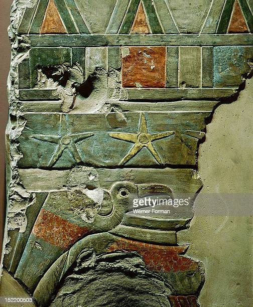 Fragment of the wall from the temple of Nebhepetra Mentuhotep A vulture with wings outstretched to protect the King beneath a star filled skyEgypt...