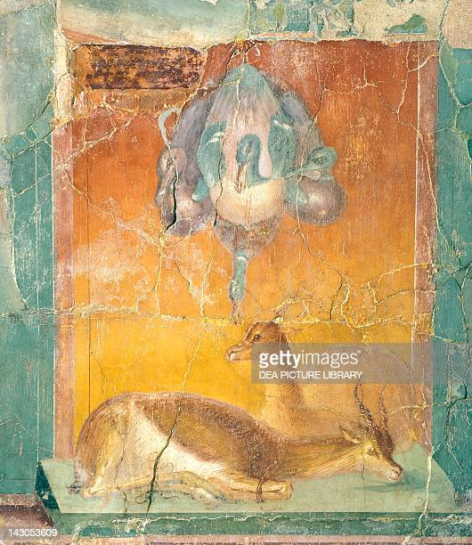 Fragment of wall decoration in Second Pompeian Style showing ducks and antelopes painting on plaster 120x105 cm from the Villa of Papyrus in...