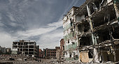 Fragments of partly demolished building