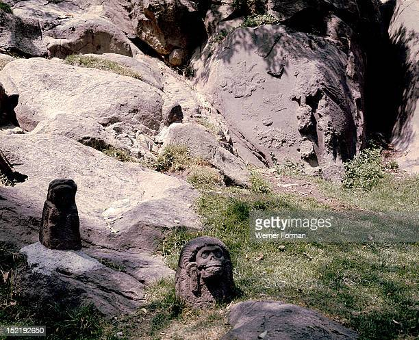 Fragments of sculptured rock which once formed part of Montezuma's summer palace The Great Speaker and other nobles moved out of the city in the long...