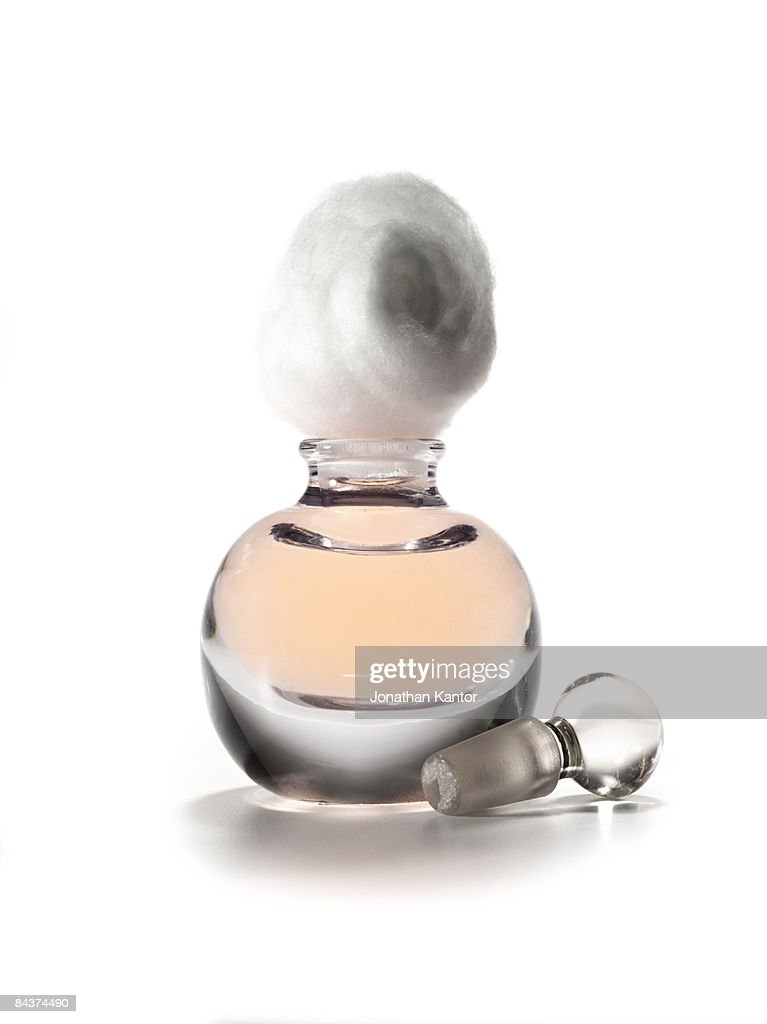 Fragrance Bottle with Cotton Ball : Stock Photo