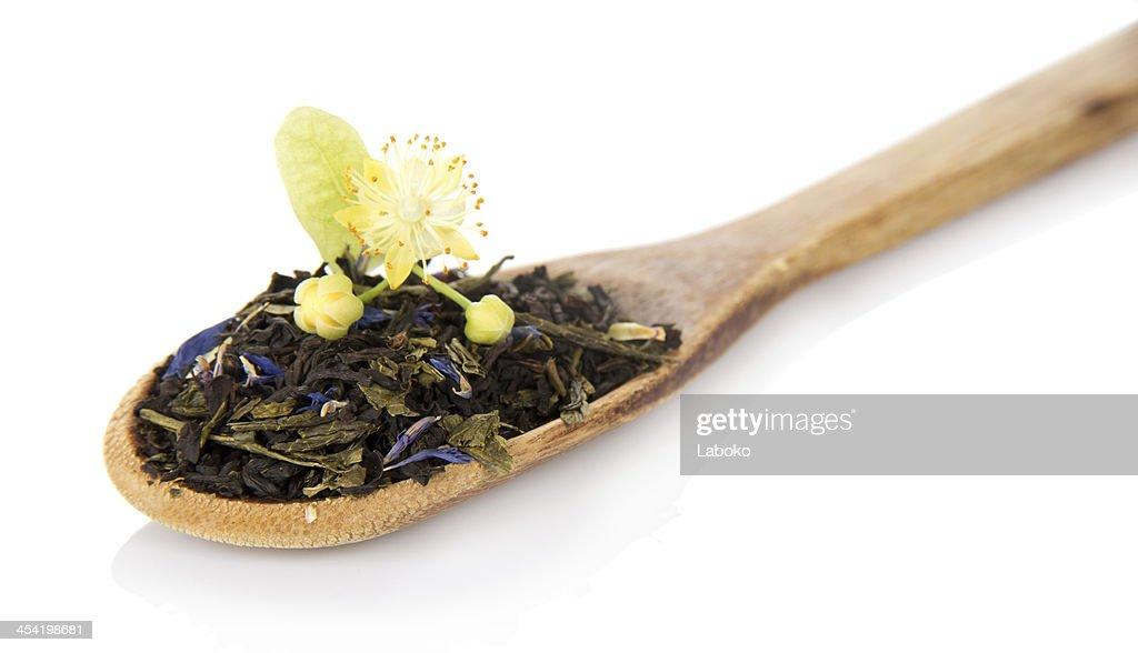 Fragrant tea leaves with cornflowers : Stock Photo