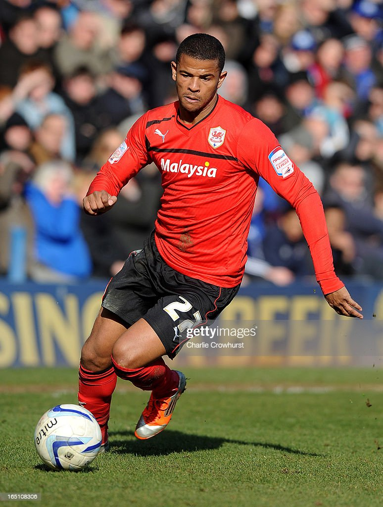 Fraizer Campbell of Cardiff City attacks during the npower Championship match between Peterborough United and Cardiff City at London Road on March 30, 2013 in Peterborough, England,