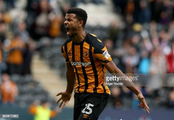 Fraizer Campbell of Hull City celebrates scoring during the Sky Bet Championship match between Hull City and Birmingham City at KCOM Stadium on...