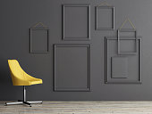 Empty frame composition on grey wall, 3d render