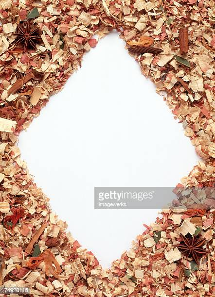 A frame formed by wooden scraps