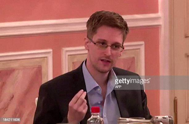 A frame grab made from AFPTV footage reportedly taken on October 9 shows US intelligence leaker Edward Snowden speaking during his dinner with a...
