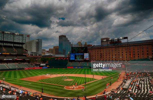 A 21 frame High Dynamic Range view of Orioles Park at Camden Yards in Baltimore MD prior to an MLB game between the Houston Astros and the Baltimore...