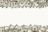 Dollars Photography: Frame of 100 dollars banknotes. Background on the half frame. The place for copy space.