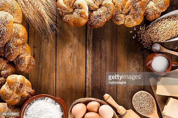 Frame-Zutaten für Brot Vorbereitung Aufnahme Draufsicht