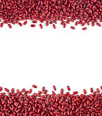 Frame of red kidney beans with copy space on white background.