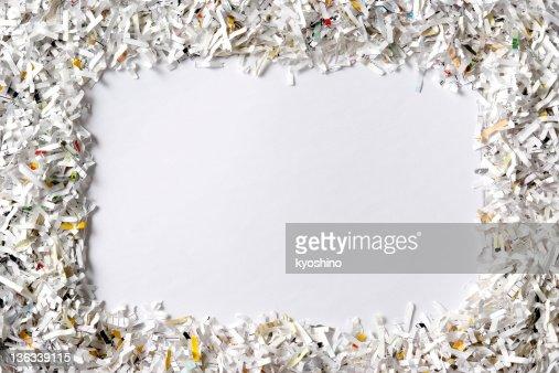 Frame of the shredded paper on white background