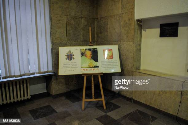 A frame with a photo and a quote by the late Pope Saint John Paul II is seen at Post Office number 1 in Bydgoszcz Poland on 19 October 2017