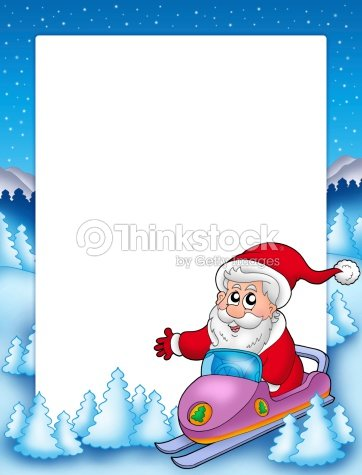 Frame With Santa Claus On Scooter Stock Photo | Thinkstock