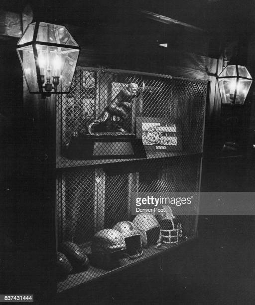 Framed by glowing lamps of gold are the Heisman trophy awarded Doak Walker of football fame and a collection of 100 years of football helmet...