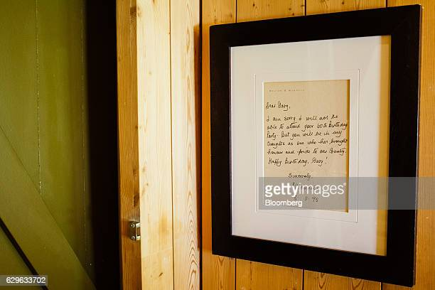 A framed handwritten apology note by the late Nelson Mandela hang on the wall at the Rietfontein ranch and stud farm in Karoo Colesberg South Africa...