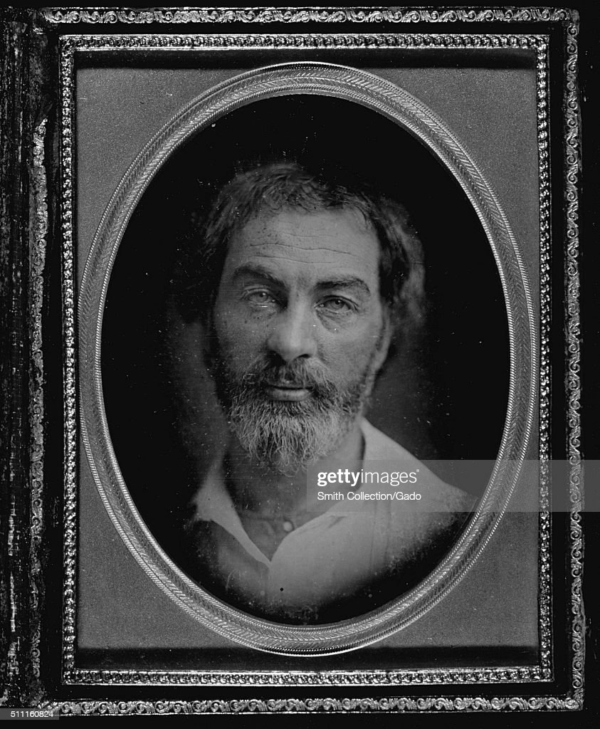 Framed, oval daguerreotype portrait of Walt Whitman, American poet, essayist and journalist, 1853. From the New York Public Library. (Photo by Smith Collection/Gado/Getty Images).