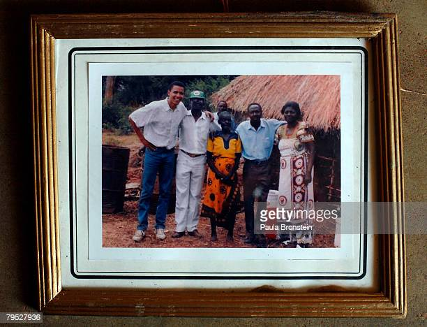 A framed photo of US Presidential candidate Barak Obama with family Kenyan relatives hangs on his Grandmother's wall February 5 2008 in Kogelo Kenya...