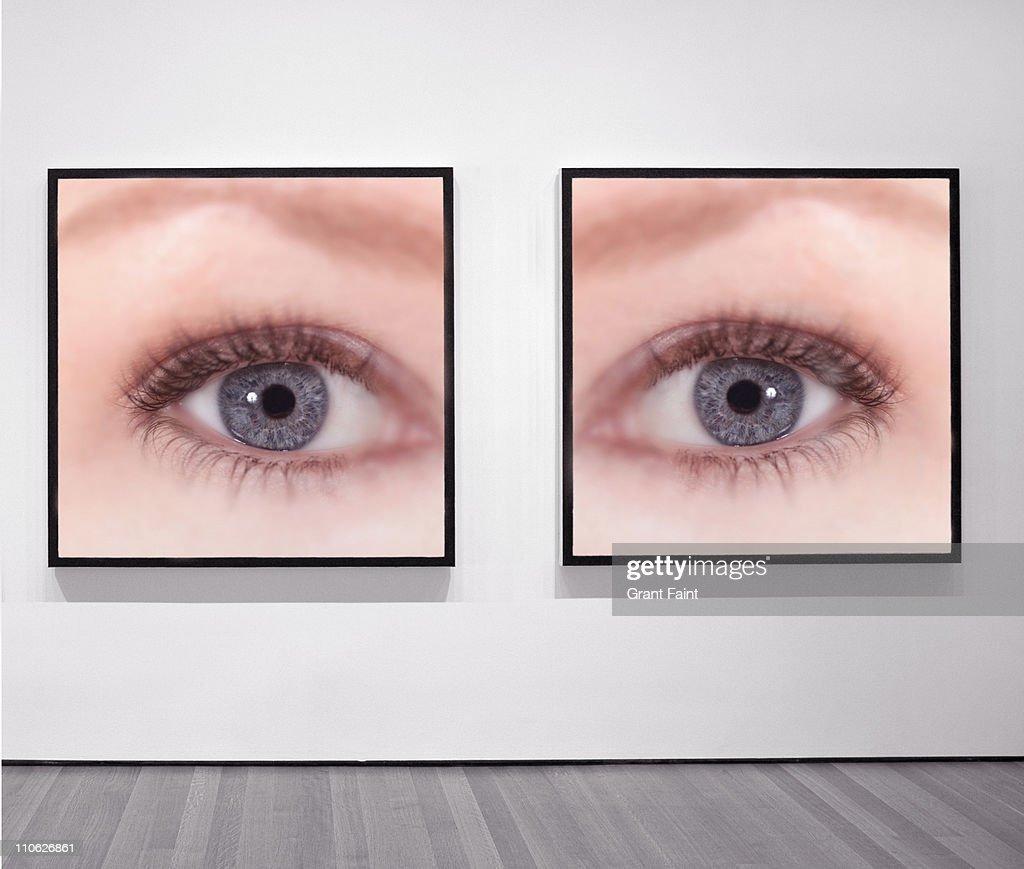 Framed photographs of female eyes. : Stock Photo