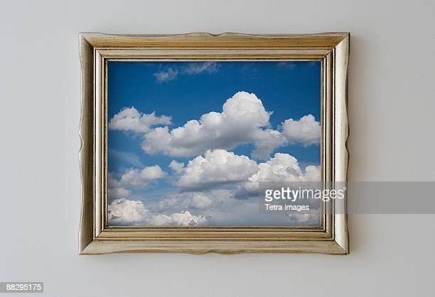 Framed picture of cloudy sky