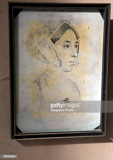 Framed portrait of Anne Boleyn Church of St Mary Erwarton Suffolk According to legend her heart is interred in a lead casket within the church