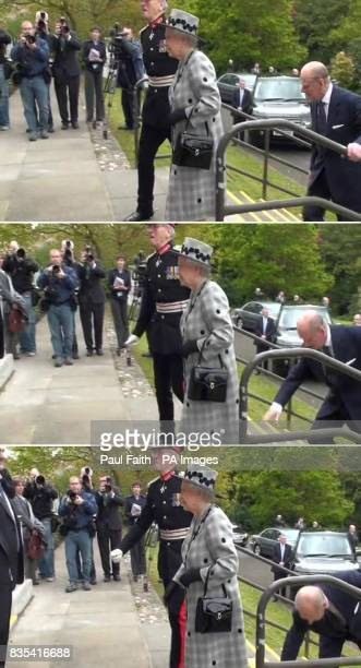 Frames grabbed from PA Video of the Duke of Edinburgh who tripped and almost fell while visiting a centre for injured and retired police officers...
