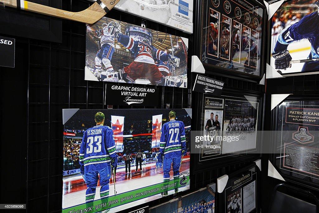Frameworth Sports Marketing displays images at the 2014 NHL Exchange at Pepsi Center on July 22, 2014, in Denver, Colorado.